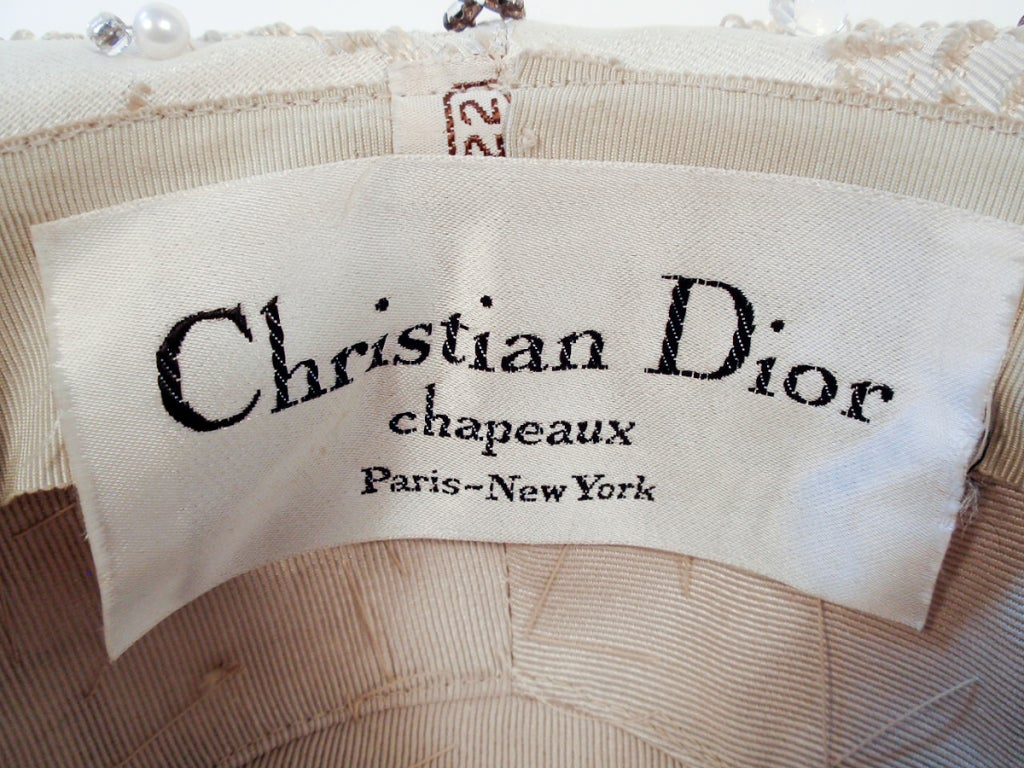 Women's Christian Dior Ivory Brocade Cloche hat w/ Pearls, Rhinestones For Sale