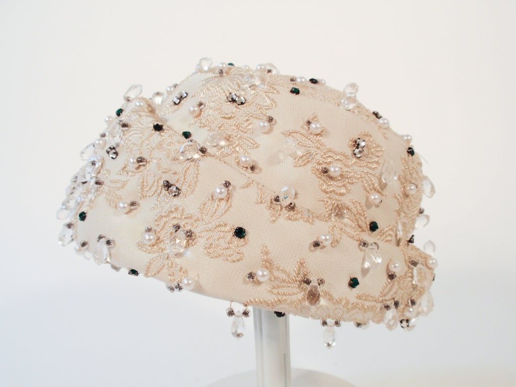 Christian Dior Ivory Brocade Cloche hat w/ Pearls, Rhinestones For Sale 1