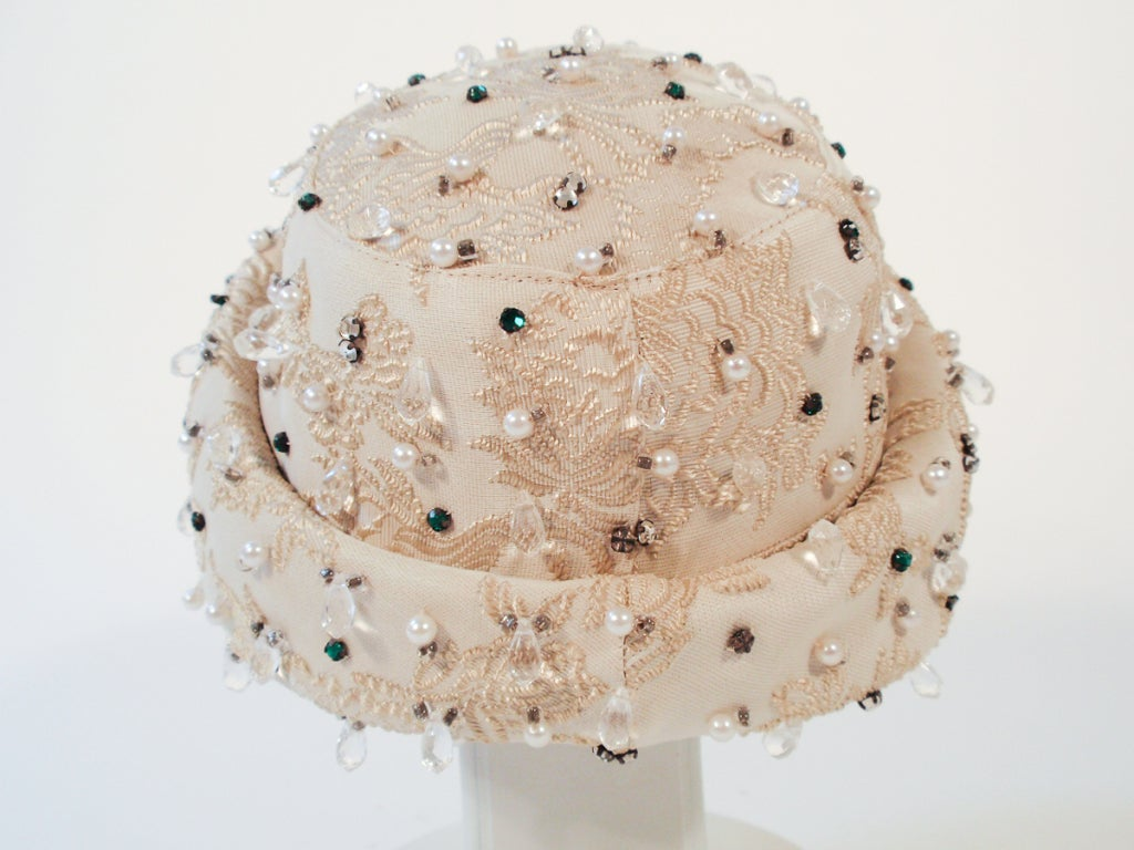 Christian Dior Ivory Brocade Cloche hat w/ Pearls, Rhinestones For Sale 2