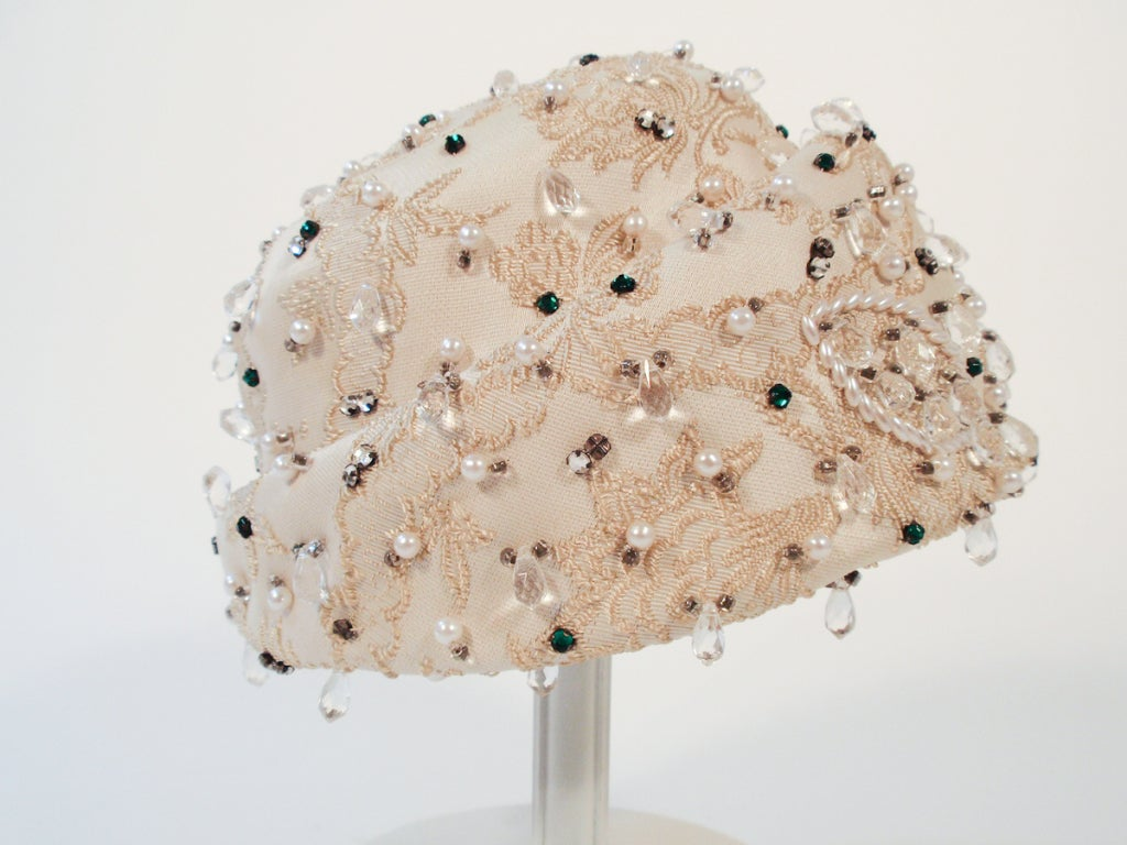Christian Dior Ivory Brocade Cloche hat w/ Pearls, Rhinestones For Sale 3