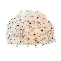 Christian Dior Ivory Brocade Cloche hat w/ Pearls, Rhinestones