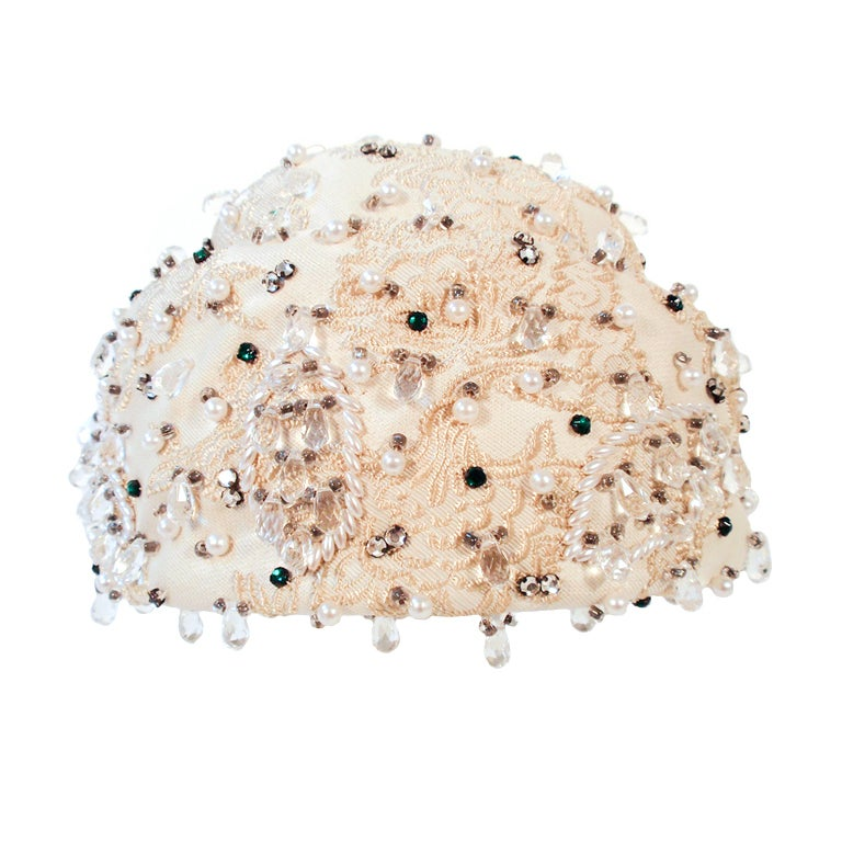 Christian Dior Ivory Brocade Cloche hat w/ Pearls, Rhinestones For Sale