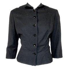 1950's Howard Greer Fitted Black Wool Waist Jacket w. Velvet Bows Size 6