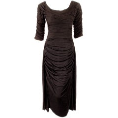 Ceil Chapman Black Ruched & Draped Cocktail Dress w/ 3/4 Sleeves