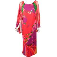 Hanae Mori Pink, Purple, Green Floral Print Silk Chiffon Caftan Gown