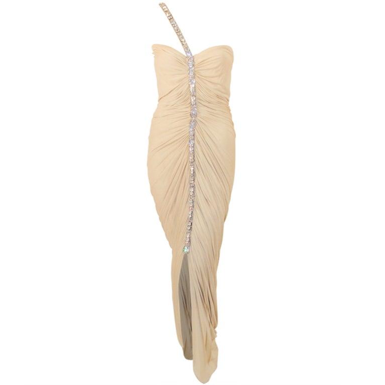 Elizabeth Mason Couture Draped Nude Jersey Gown w. Rhinestone strap 4-6
