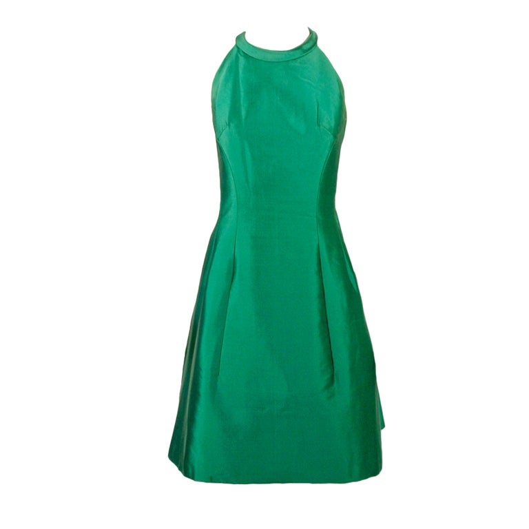 Givenchy Couture Green Sleeveless Satin Cocktail Dress w/ Bow