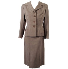 Madame Gres Vintage 2 pc. Gray Fitted Jacket & Dress Ensemble