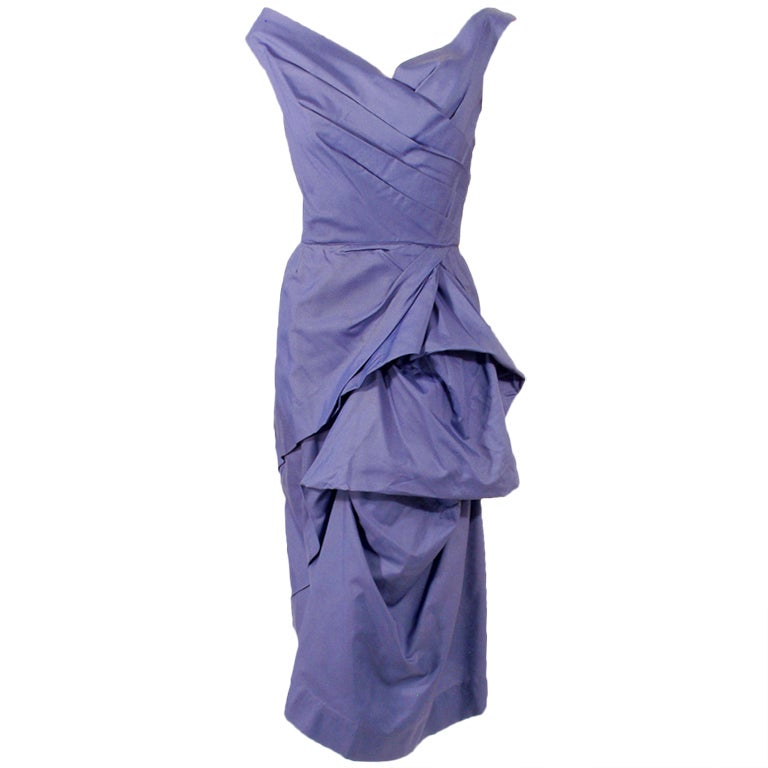 Ceil Chapman Purple Vintage Cocktail Dress w/ Pleated Bodice at ...