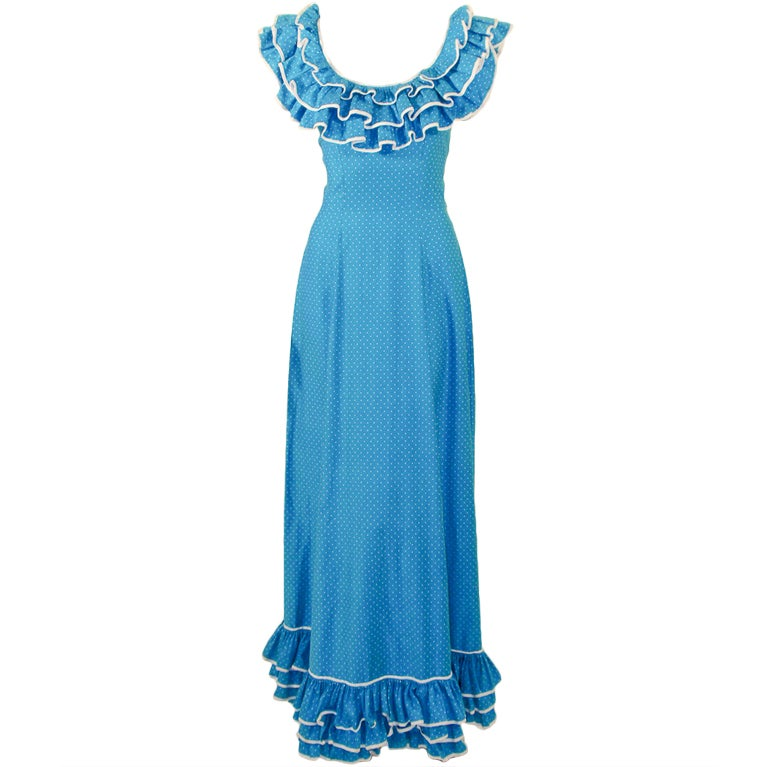 Yves Saint Laurent adapted by Alexander's Blue White Polka Dot Ruffle Gown 4