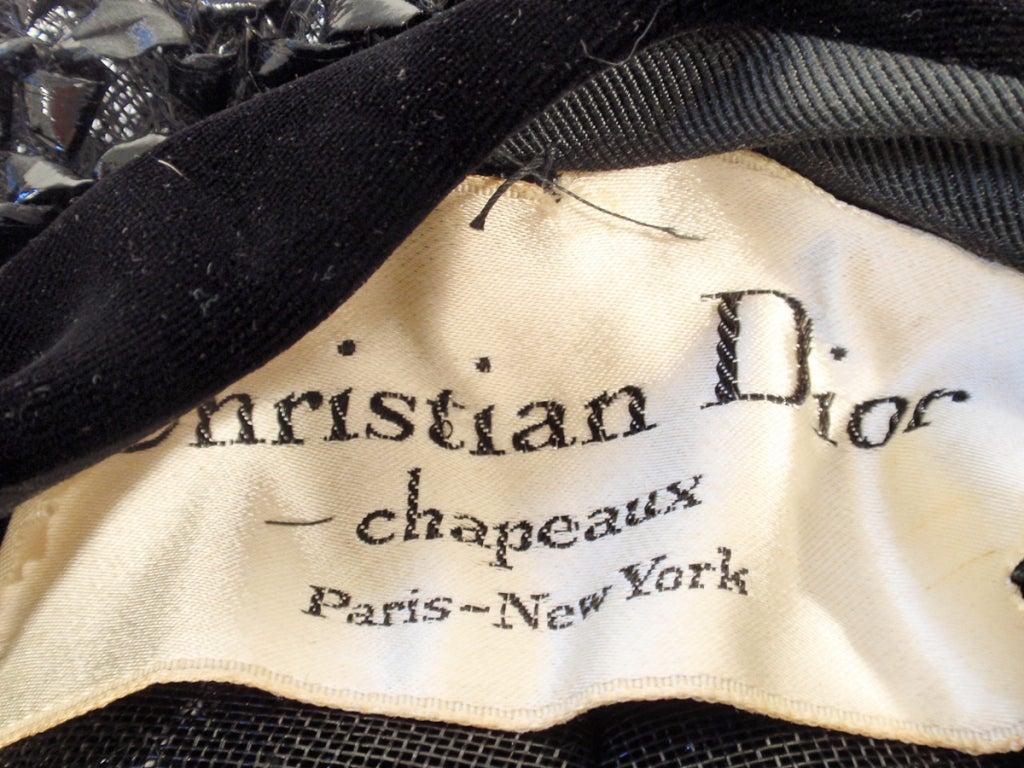 Christian Dior Chapeaux Black Woven Straw Beret w/ Velvet Band 22cm 2