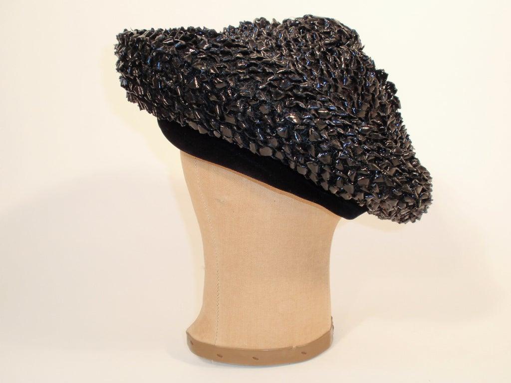 Christian Dior Chapeaux Black Woven Straw Beret w/ Velvet Band 22cm 3
