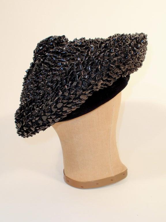 Christian Dior Chapeaux Black Woven Straw Beret w/ Velvet Band 22cm For Sale 1