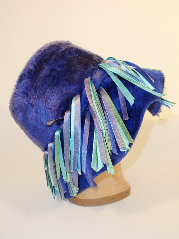 4a130fa18f6a81 Christian Dior Chapeaux Blue Fur Wide Brim Hat w/ Ribbon Detail In Fair  Condition For