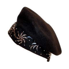 1940's Hattie Carnegie Black Felt Abstract Hat White Beads & Gold Paillettes