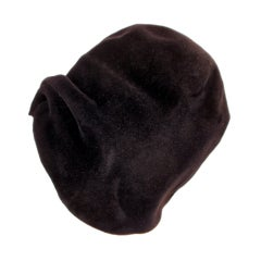 James Galanos Black Felt Cloche Hat, Turban Style