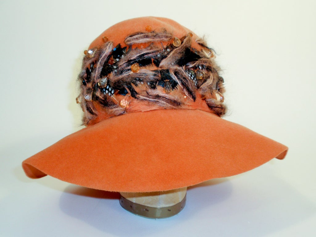 Christian Dior Chapeaux Orange Floppy Hat w/ Feathers, Yarn, & Beads 2