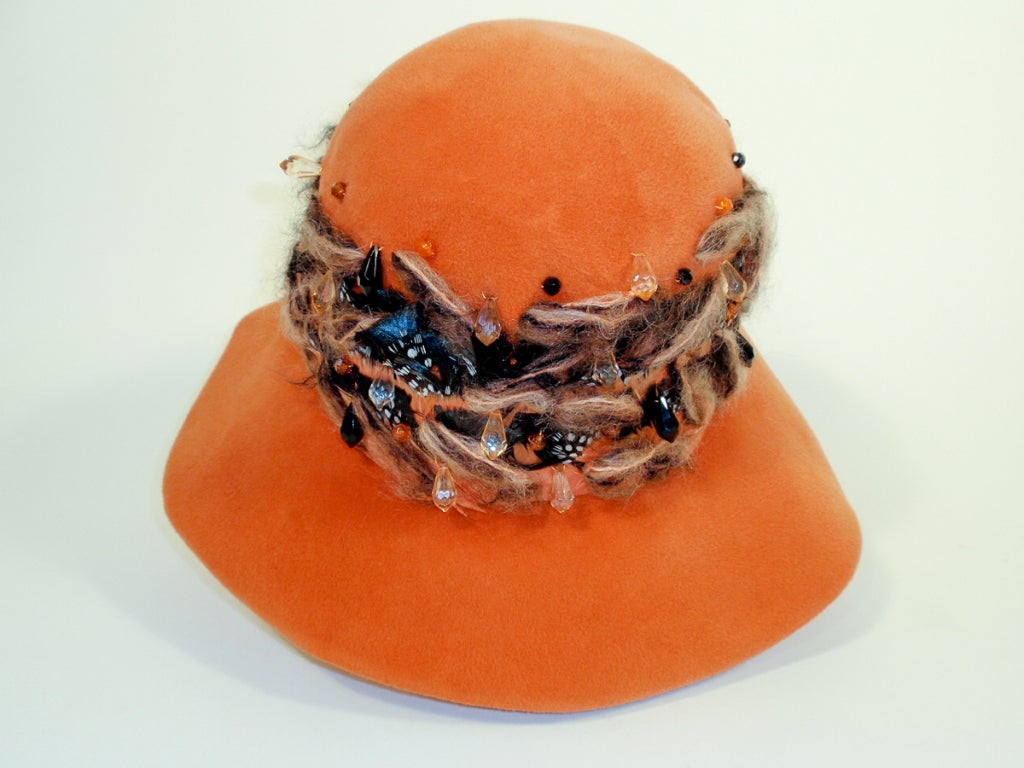 Christian Dior Chapeaux Orange Floppy Hat w/ Feathers, Yarn, & Beads 5