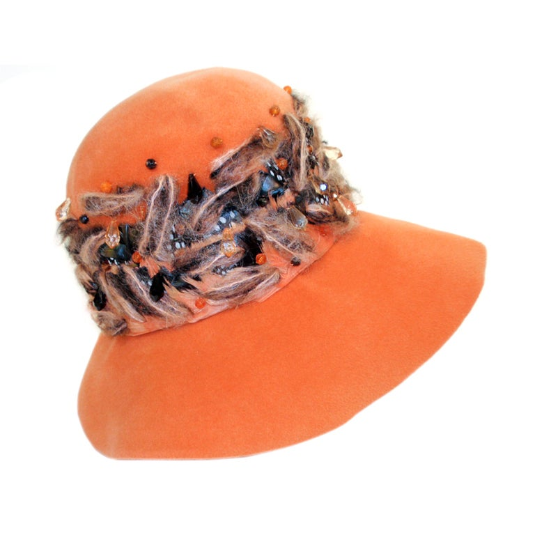 Christian Dior Chapeaux Orange Floppy Hat w/ Feathers, Yarn, & Beads 1