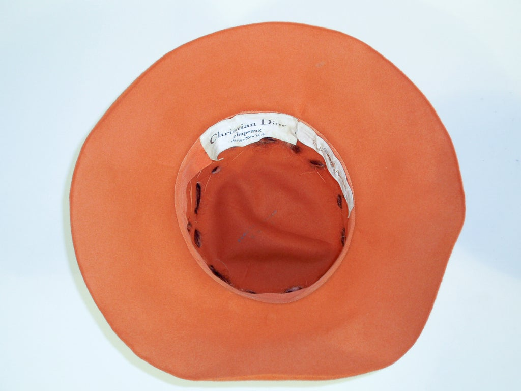 Christian Dior Chapeaux Orange Floppy Hat w/ Feathers, Yarn, & Beads 6