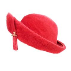 Schiaparelli Paris Pink Fur felt breton hat with Rhinestones and Tassel