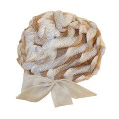 Christian Dior Chapeaux Woven Textured Net Bubble Hat w/ Bow 1960's