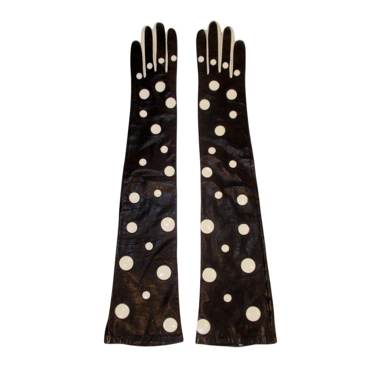 Pierre Cardin Long Black Leather Gloves w/ White Polka Dots