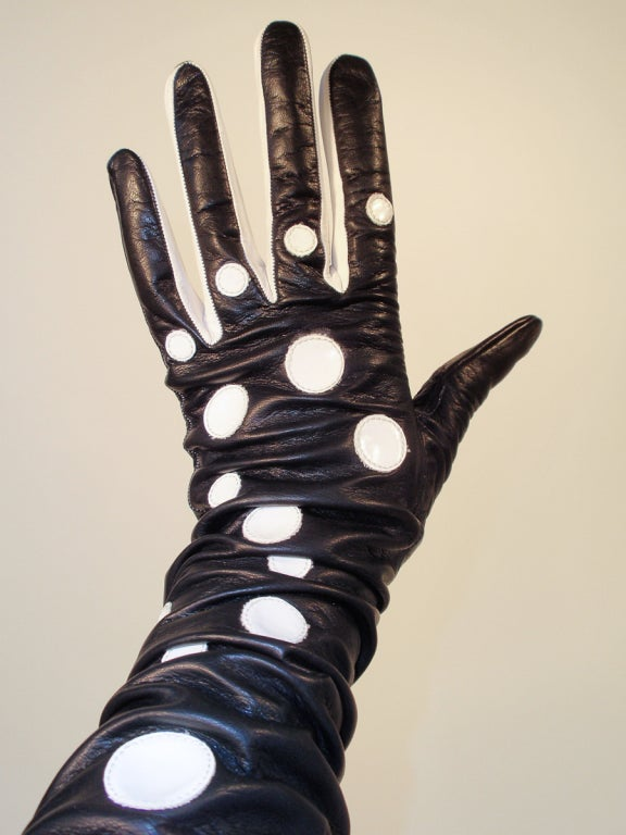 Pierre Cardin Long Black Leather Gloves w/ White Polka Dots image 4
