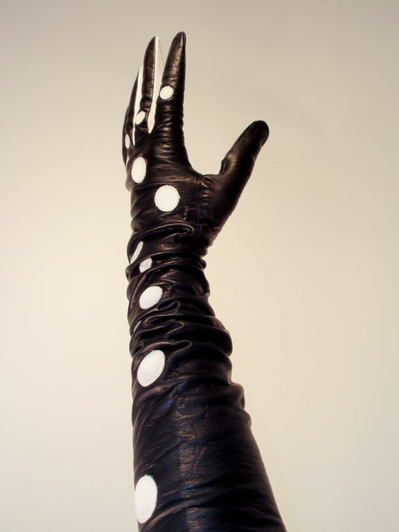 Pierre Cardin Long Black Leather Gloves w/ White Polka Dots image 5