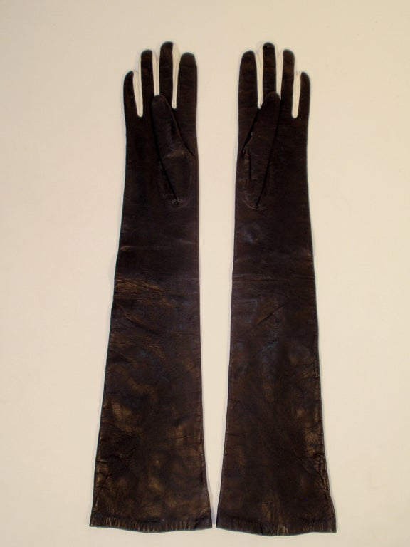 Pierre Cardin Long Black Leather Gloves w/ White Polka Dots image 6