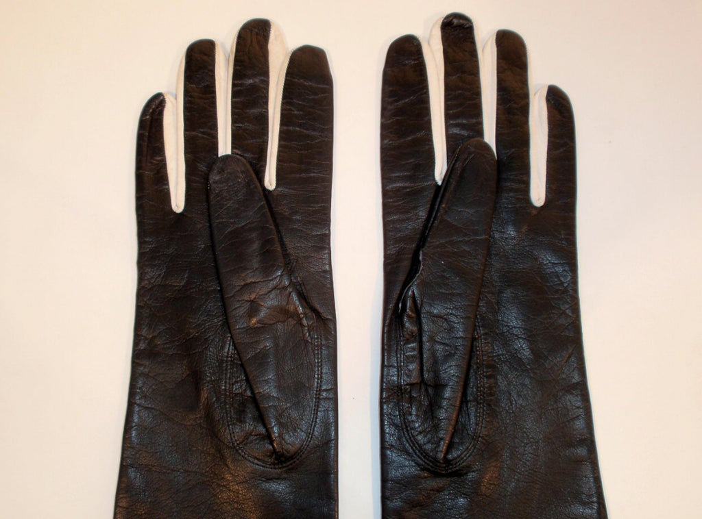Pierre Cardin Long Black Leather Gloves w/ White Polka Dots image 8