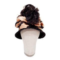 John Frederics Vintage Black Hat w. Ostrich Feathers & Nude Silk Lace Ribbon