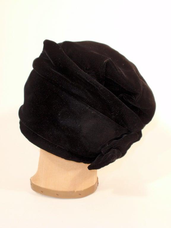 Balenciaga Vintage Black Velvet Turban Made For Macy S At