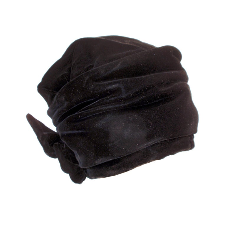 Balenciaga Vintage Black Velvet Turban, Made for Macy's