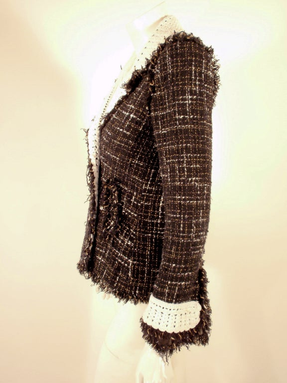 Chanel Black Boucle Wool Jacket w/ White Fleck Plaid 3