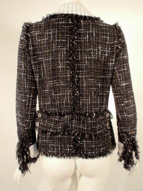 Chanel Black Boucle Wool Jacket w/ White Fleck Plaid 4