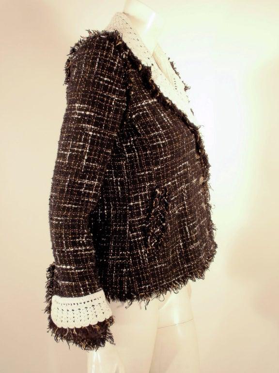 Chanel Black Boucle Wool Jacket w/ White Fleck Plaid 5
