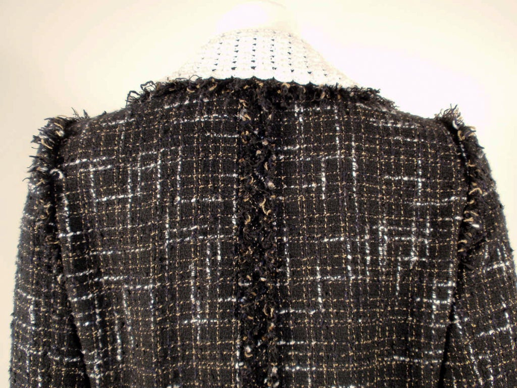 Chanel Black Boucle Wool Jacket w/ White Fleck Plaid 7