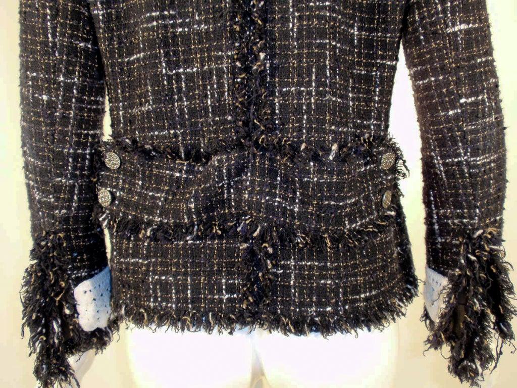 Chanel Black Boucle Wool Jacket w/ White Fleck Plaid 8