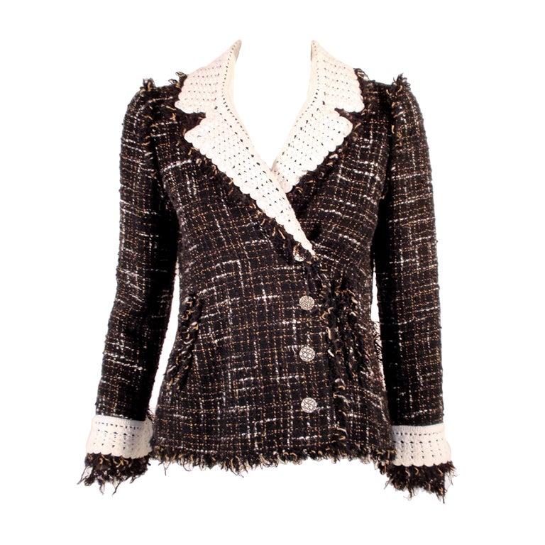 Chanel Black Boucle Wool Jacket w/ White Fleck Plaid 1