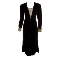 Valentino Night Black Velvet Dress w. Silver Rhinestone Bust & Cuff detail sz 10