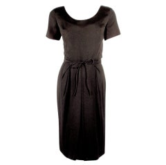 Helen Rose Vintage Black Short Sleeve Cocktail Dress w/ Tie Belt