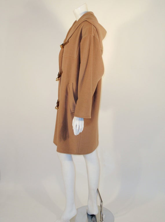 Hermes Camel Hair Duffle Coat w/ Hood & Gold Toggle Buttons 3
