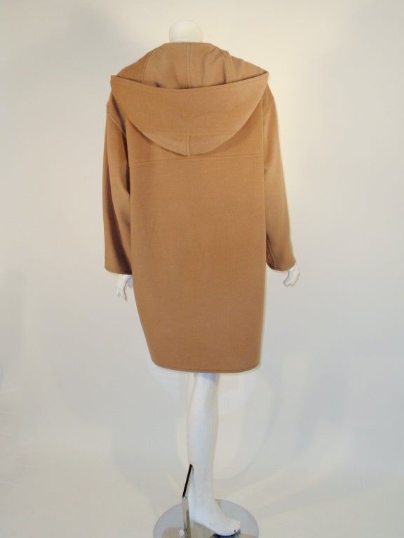 Hermes Camel Hair Duffle Coat w/ Hood & Gold Toggle Buttons 4