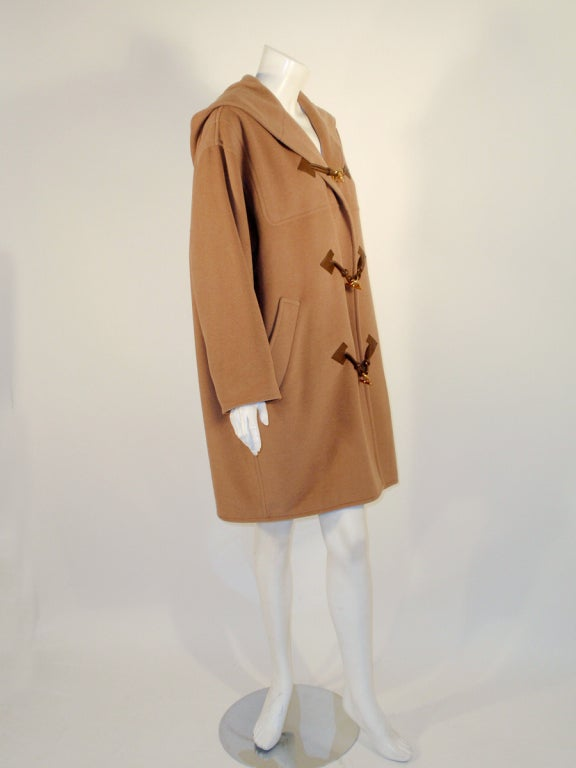 Hermes Camel Hair Duffle Coat w/ Hood & Gold Toggle Buttons 5