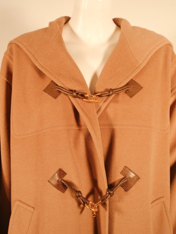 Hermes Camel Hair Duffle Coat w/ Hood & Gold Toggle Buttons 6