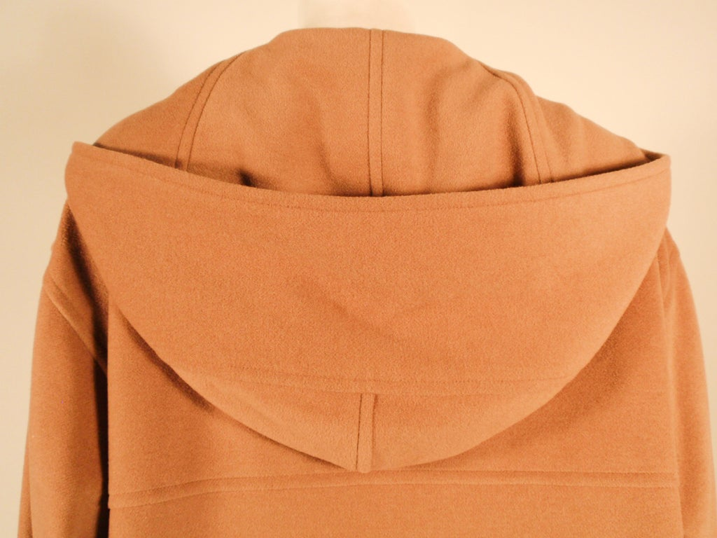 Hermes Camel Hair Duffle Coat w/ Hood & Gold Toggle Buttons 7