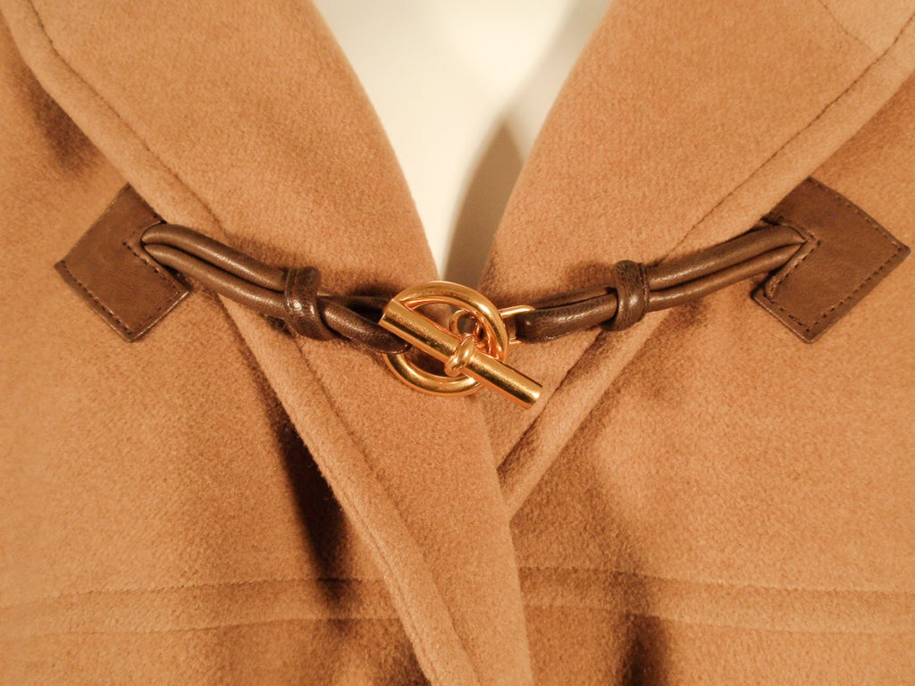 Hermes Camel Hair Duffle Coat w/ Hood & Gold Toggle Buttons 8