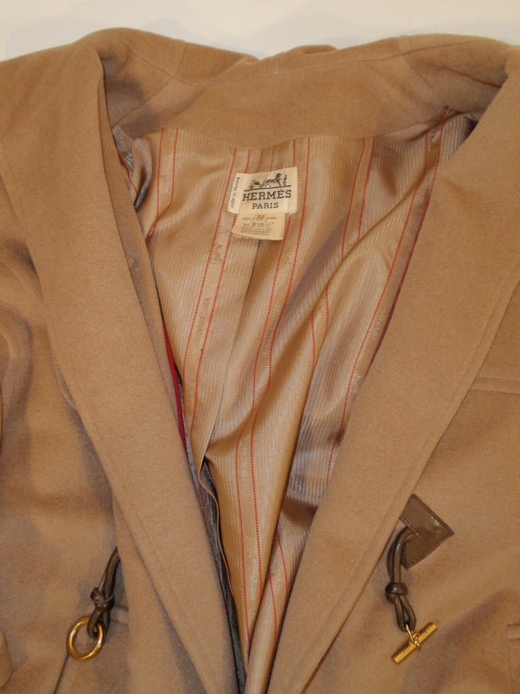 Hermes Camel Hair Duffle Coat w/ Hood & Gold Toggle Buttons 9