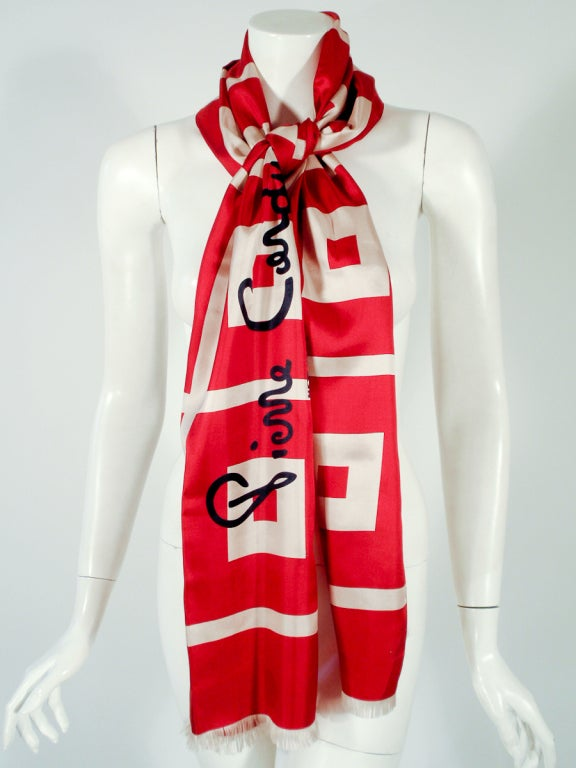 cardin and gray silk scarf w signature logo at